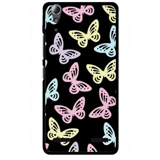 Snooky Printed Butterfly Mobile Back Cover For Lenovo A6000 Plus - Multi