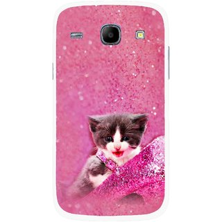 Snooky Printed Pink Cat Mobile Back Cover For Samsung Galaxy Core - Multicolour