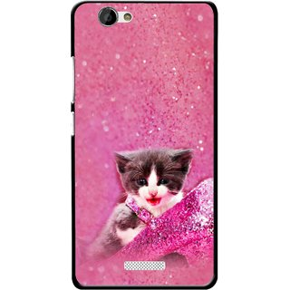 Snooky Printed Pink Cat Mobile Back Cover For Gionee M2 - Multi