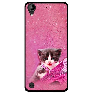 Snooky Printed Pink Cat Mobile Back Cover For HTC Desire 630 - Multi