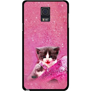 Snooky Printed Pink Cat Mobile Back Cover For Samsung Galaxy Note 4 - Multicolour