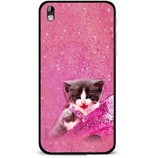 Snooky Printed Pink Cat Mobile Back Cover For HTC Desire 816 - Multi