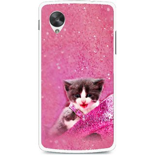 Snooky Printed Pink Cat Mobile Back Cover For Lg Google Nexus 5 - Multi