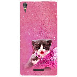 Snooky Printed Pink Cat Mobile Back Cover For Sony Xperia T3 - Multicolour