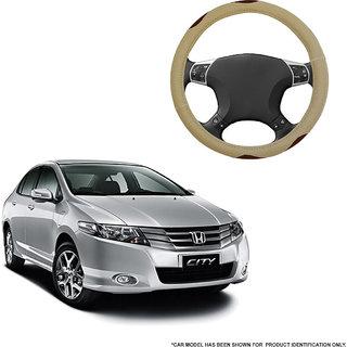 Autofurnish (AFSC-710 Bay Beige) Leatherite Car Steering Cover For Honda City