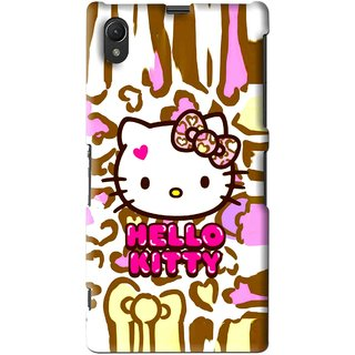 Snooky Printed Cute Kitty Mobile Back Cover For Sony Xperia Z1 - Multi
