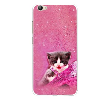 Snooky Printed Pink Cat Mobile Back Cover For Vivo Y66 - Multi