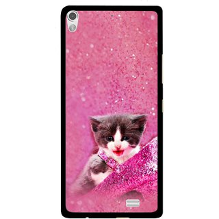 Snooky Printed Pink Cat Mobile Back Cover For Gionee Elife S5.1 - Multi