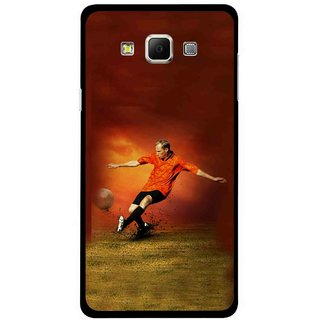 Snooky Printed Football Mania Mobile Back Cover For Samsung Galaxy E7 - Multicolour