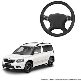 Autofurnish (AFSC-711 Dove Black) Leatherite Car Steering Cover For Skoda Yeti