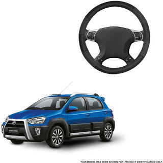 Autofurnish (AFSC-711 Dove Black) Leatherite Car Steering Cover For Toyota Etios Cross