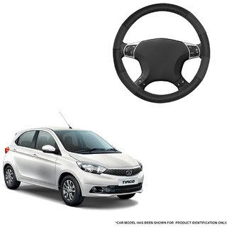 Autofurnish (AFSC-711 Dove Black) Leatherite Car Steering Cover For Tata Tiago
