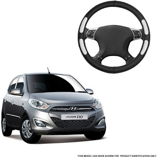 Autofurnish (AFSC-712 Flake Black) Leatherite Car Steering Cover For Hyundai i10