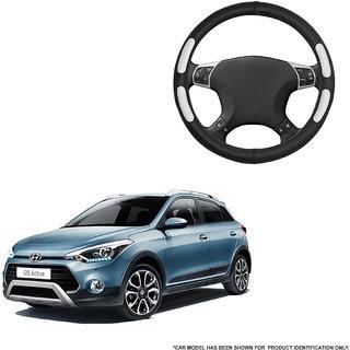 Autofurnish (AFSC-712 Flake Black) Leatherite Car Steering Cover For Hyundai i20 Active