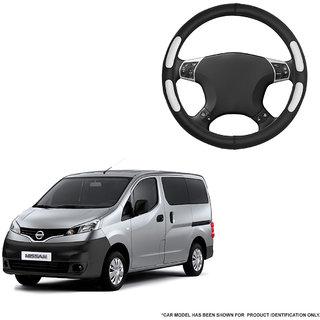 Autofurnish (AFSC-712 Flake Black) Leatherite Car Steering Cover For Nissan Evalia