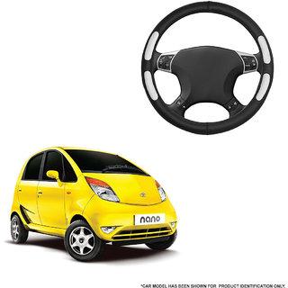 Autofurnish (AFSC-712 Flake Black) Leatherite Car Steering Cover For Tata Nano