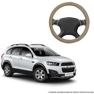Autofurnish (AFSC-713 Sorrel Beige) Leatherite Car Steering Cover For Chevrolet Captiva