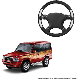 Autofurnish (AFSC-712 Flake Black) Leatherite Car Steering Cover For Tata Sumo