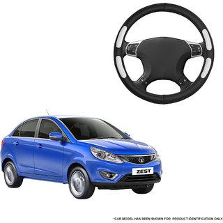 Autofurnish (AFSC-712 Flake Black) Leatherite Car Steering Cover For Tata Zest
