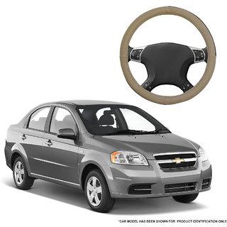 Autofurnish (AFSC-713 Sorrel Beige) Leatherite Car Steering Cover For Chevrolet Aveo