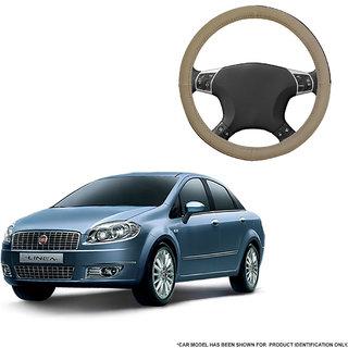 Autofurnish (AFSC-713 Sorrel Beige) Leatherite Car Steering Cover For Fiat Linea