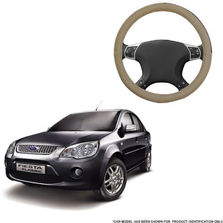 Autofurnish (AFSC-713 Sorrel Beige) Leatherite Car Steering Cover For Ford Fiesta Classic