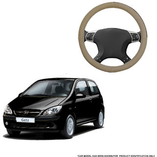 Autofurnish (AFSC-713 Sorrel Beige) Leatherite Car Steering Cover For Hyundai Getz Prime
