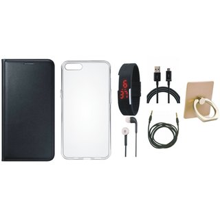 Samsung J7 Prime (  SM-G610F ) Leather Flip Cover with with Ring Stand Holder, Silicon Back Cover, Digital Watch, Earphones, USB Cable and AUX Cable