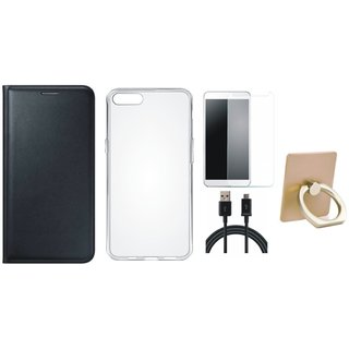 Samsung J7 Prime (  SM-G610F ) Leather Flip Cover with with Ring Stand Holder, Silicon Back Cover, Tempered Glass and USB Cable