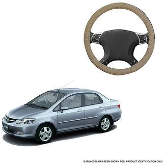 Autofurnish (AFSC-713 Sorrel Beige) Leatherite Car Steering Cover For Honda City ZX