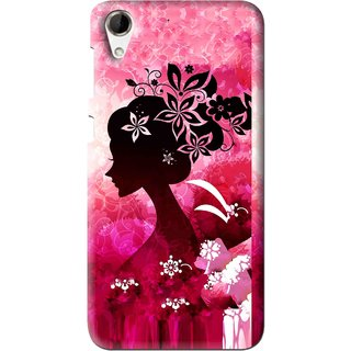 Snooky Printed Pink Lady Mobile Back Cover For HTC Desire 728 - Multi