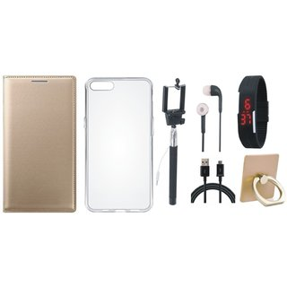Oppo A37F Leather Cover with Ring Stand Holder, Silicon Back Cover, Selfie Stick, Digtal Watch, Earphones and USB Cable
