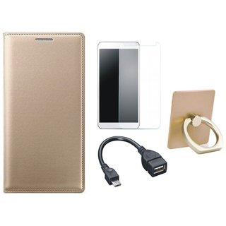 Oppo A37F Premium Leather Cover with Ring Stand Holder, Tempered Glass and OTG Cable