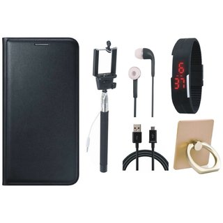 Motorola Moto C Leather Flip Cover with with Ring Stand Holder, Selfie Stick, Digtal Watch, Earphones and USB Cable
