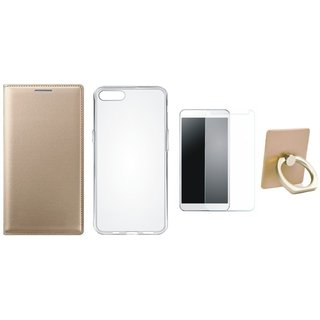 Oppo A37F Premium Leather Cover with Ring Stand Holder, Silicon Back Cover, Tempered Glass