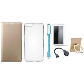 Oppo A37F Premium Leather Cover with Ring Stand Holder, Silicon Back Cover, Tempered Glass, USB LED Light and OTG Cable