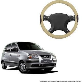 Autofurnish (AFSC-714 Russet Cream) Leatherite Car Steering Cover For Hyundai Santro