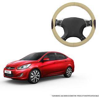 Autofurnish (AFSC-714 Russet Cream) Leatherite Car Steering Cover For Hyundai Accent