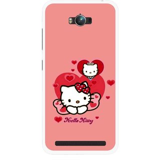 Snooky Printed Pinky Kitty Mobile Back Cover For Asus Zenfone Max - Multicolour