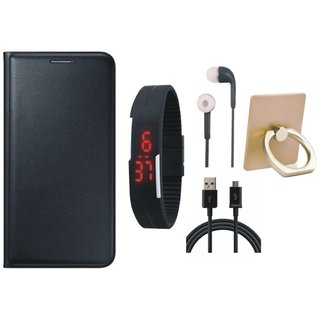 Lenovo K4 Note Premium Leather Cover with Ring Stand Holder, Digital Watch, Earphones and USB Cable