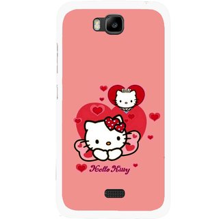 Snooky Printed Pinky Kitty Mobile Back Cover For Huawei Honor Bee - Multicolour