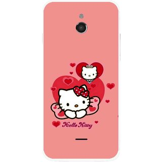 Snooky Printed Pinky Kitty Mobile Back Cover For Infocus M2 - Multicolour