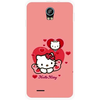 Snooky Printed Pinky Kitty Mobile Back Cover For Intex Aqua Life 2 - Multicolour