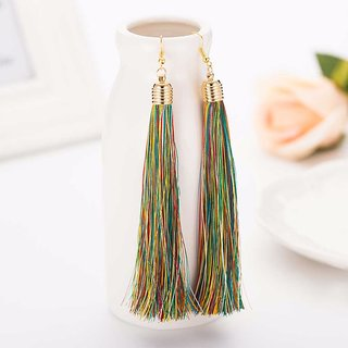 Multi Color Cotton Fringe Long Big Fashion Tassel Dangler Drop Earrings Jewelry