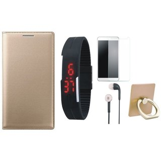 Oppo A37F Cover with Ring Stand Holder, Free Digital LED Watch, Tempered Glass and Earphones