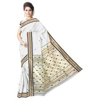 Beautiful Off White Maheshwari Handloom Silk Cotton Saree