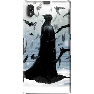 Snooky Printed Black Bats Mobile Back Cover For Sony Xperia Z1 - Multi