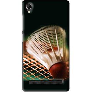 Snooky Printed Badminton Mobile Back Cover For Intex Aqua Power Plus - Multi