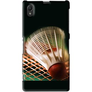 Snooky Printed Badminton Mobile Back Cover For Sony Xperia Z1 - Multi