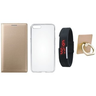 Samsung J7 Prime (  SM-G610F ) Leather Cover with Ring Stand Holder, Silicon Back Cover, Digital Watch
